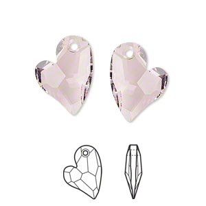 drop, swarovski crystals, crystal passions, rosaline, 17x13mm faceted devoted 2 u heart pendant (6261). sold per pkg of 6.