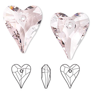 drop, swarovski crystals, crystal passions, rosaline, 27x22mm faceted wild heart pendant (6240). sold per pkg of 6.