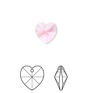 drop, swarovski crystals, crystal passions, rose, 10x10mm xilion heart pendant (6228). sold per pkg of 24.