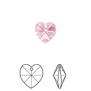 drop, swarovski crystals, crystal passions, rose ab, 10x10mm xilion heart pendant (6228). sold per pkg of 2.