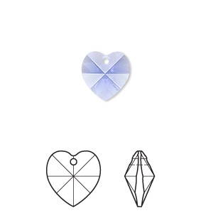 drop, swarovski crystals, crystal passions, sapphire, 10x10mm xilion heart pendant (6228). sold per pkg of 2.