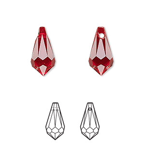 drop, swarovski crystals, crystal passions, siam, 15x7.5mm faceted teardrop pendant (6000). sold per pkg of 2.
