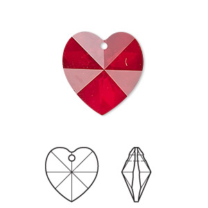 drop, swarovski crystals, crystal passions, siam, 18x18mm xilion heart pendant (6228). sold per pkg of 24.