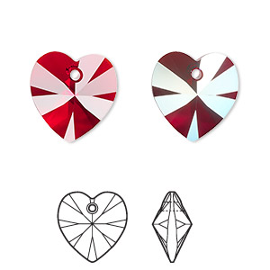 drop, swarovski crystals, crystal passions, siam ab, 14x14mm xilion heart pendant (6228). sold per pkg of 24.
