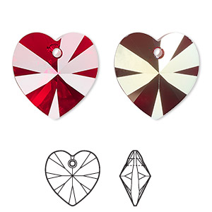 drop, swarovski crystals, crystal passions, siam ab, 18x18mm xilion heart pendant (6228). sold individually.
