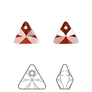 drop, swarovski crystals, crystal red magma, 12mm xilion triangle pendant (6628). sold per pkg of 144 (1 gross).