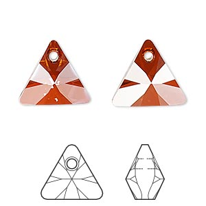 drop, swarovski crystals, crystal red magma, 16mm xilion triangle pendant (6628). sold per pkg of 72.