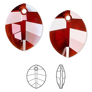 drop, swarovski crystals, crystal red magma, 23x18mm faceted pure leaf pendant (6734). sold per pkg of 30.