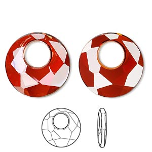 drop, swarovski crystals, crystal red magma, 28mm faceted victory pendant (6041). sold per pkg of 12.
