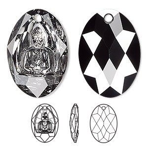 drop, swarovski crystals, crystal silver night, 28x19.8mm faceted buddha pendant (6871). sold per pkg of 10.