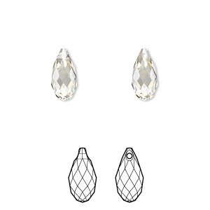 drop, swarovski crystals, crystal silver shade, 11x5.5mm faceted briolette pendant (6010). sold per pkg of 144 (1 gross).
