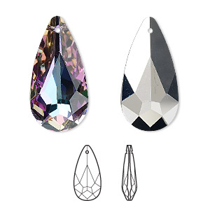 drop, swarovski crystals, crystal vitrail light, 24x12mm teardrop pendant (6100). sold per pkg of 36.