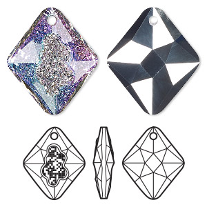 drop, swarovski crystals, crystal vitrail light p, 26mm faceted grow rhombus pendant (6926). sold per pkg of 15.