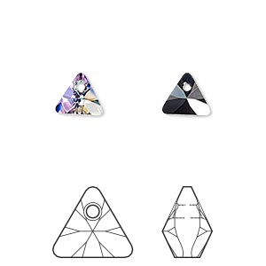 drop, swarovski crystals, crystal vitrail light p, 8mm xilion triangle pendant (6628). sold per pkg of 288 (2 gross).