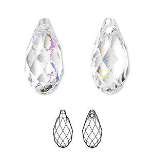 drop, swarovski crystals, crystal white patina, 11x5.5mm faceted briolette pendant (6010). sold per pkg of 144 (1 gross).