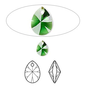 drop, swarovski crystals, dark moss green, 8x6mm xilion mini pear pendant (6128). sold per pkg of 144 (1 gross).