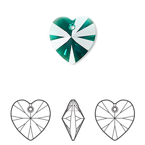 drop, swarovski crystals, emerald, 14x14mm xilion heart pendant (6228). sold per pkg of 144 (1 gross).