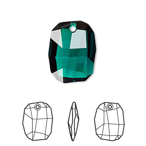 drop, swarovski crystals, emerald, 19x14mm faceted graphic pendant (6685). sold per pkg of 48.