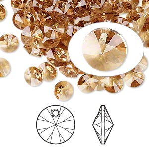 drop, swarovski crystals, light colorado topaz, 6mm xilion rivoli pendant (6428). sold per pkg 720 (5 gross).