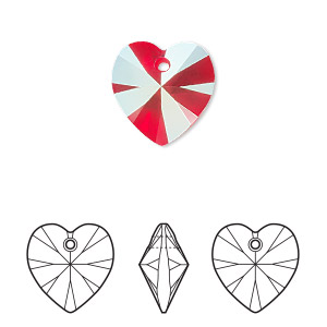 drop, swarovski crystals, light siam shimmer, 14mm xilion heart pendant (6228). sold per pkg of 144 (1 gross).