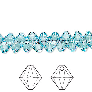 drop, swarovski crystals, light turquoise, 6mm xilion bicone pendant (6328). sold per pkg of 360.