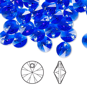 028c98b5c Drop, Swarovski® crystals, majestic blue, 8mm Xilion rivoli pendant (6428).  Sold per pkg of 12. Other Package Size(s) Here