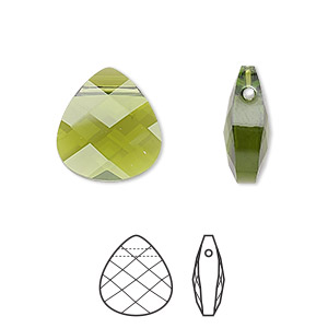 drop, swarovski crystals, olivine, 15x14mm faceted puffed briolette pendant (6012). sold per pkg of 72.