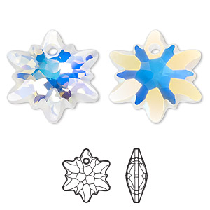drop, swarovski crystals, partially frosted crystal ab, 28mm faceted edelweiss pendant (6748/g). sold per pkg of 18.