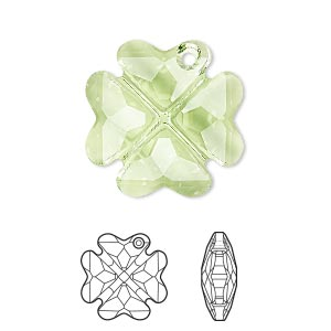 drop, swarovski crystals, peridot, 23mm faceted clover pendant (6764). sold per pkg of 24.
