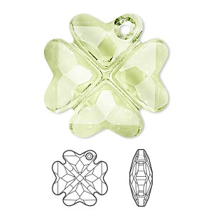 drop, swarovski crystals, peridot, 28mm faceted clover pendant (6764). sold per pkg of 16.