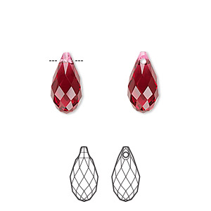 drop, swarovski crystals, scarlet, 13x6.5mm faceted briolette pendant (6010). sold per pkg of 144 (1 gross).
