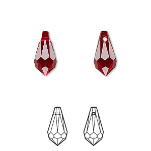 drop, swarovski crystals, siam, 13x6.5mm faceted teardrop pendant (6000). sold per pkg of 288 (2 gross).
