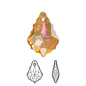 drop, swarovski crystals with third-party coating, crystal passions, crystal summer blush, 22x15mm faceted baroque pendant (6090). sold individually.