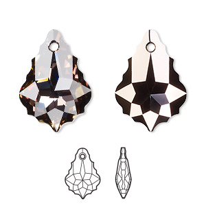 drop, swarovski crystals with third-party coating, crystal passions crystal twilight, 22x15mm faceted baroque pendant (6090). sold individually.