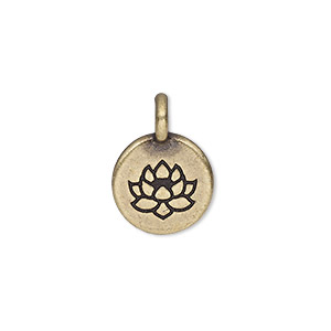 drop, tierracast, antique brass-plated pewter (tin-based alloy), 11.5mm single-sided round with lotus. sold individually.