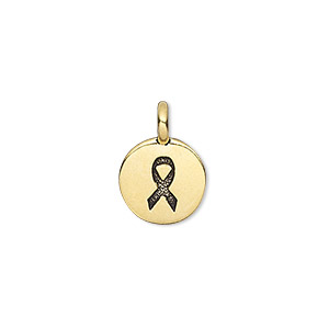drop, tierracast, antique gold-plated pewter (tin-based alloy), 12mm single-sided flat round with textured ribbon. sold individually.