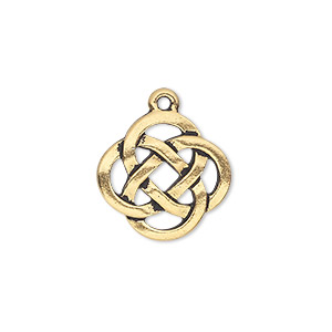 drop, tierracast, antique gold-plated pewter (tin-based alloy), 17.5mm double-sided open celtic knot. sold individually.