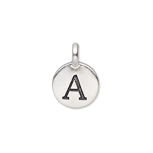 drop, tierracast, antique silver-plated pewter (tin-based alloy), 11.5mm single-sided round with textured alphabet letter a. sold individually.