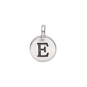 drop, tierracast, antique silver-plated pewter (tin-based alloy), 11.5mm single-sided round with textured alphabet letter e. sold individually.