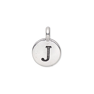 drop, tierracast, antique silver-plated pewter (tin-based alloy), 11.5mm single-sided round with textured alphabet letter j. sold individually.