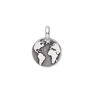drop, tierracast, antique silver-plated pewter (tin-based alloy), 12mm single-sided round with earth. sold individually.