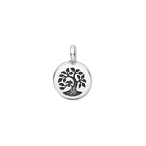 drop, tierracast, antique silver-plated pewter (tin-based alloy), 12mm single-sided flat round with textured tree. sold individually.