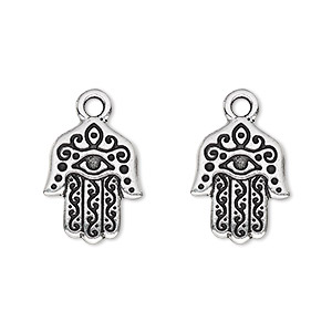 drop, tierracast, antique silver-plated pewter (tin-based alloy), 16x13mm double-sided fatima hand with eye. sold per pkg of 2.