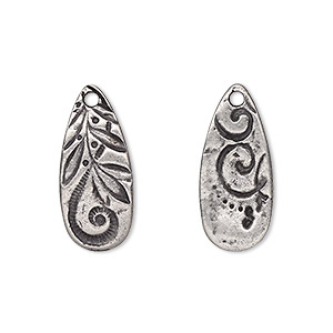 drop, tierracast, antiqued pewter (tin-based alloy), 23x10mm two-sided teardrop with jardin design. sold per pkg of 2.