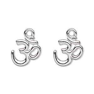 drop, tierracast, rhodium-plated pewter (tin-based alloy), 14x13mm om symbol. sold per pkg of 2.