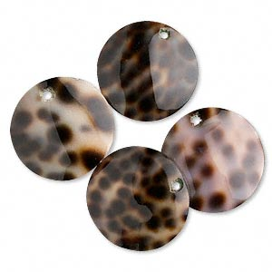 drop, tiger cowrie shell (natural), 20mm round. sold per pkg of 4.