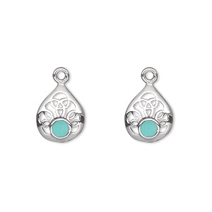 drop, turquoise (imitation) and antiqued sterling silver, blue, 12x10mm single-sided filigree teardrop. sold per pkg of 2.
