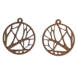 drop, wood (natural), 19mm single-sided flat round with cutout branches design. sold per pkg of 2.