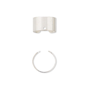 ear cuff, silver-plated brass, 6mm with hole, adjustable. sold per pkg of 3 pairs.