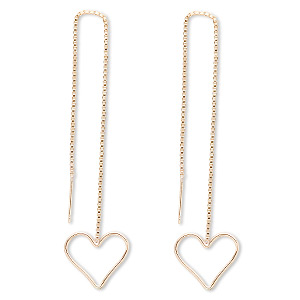 ear thread, 14kt gold-filled, 4-1/2 inch chain with 16x16mm open heart. sold per pair.